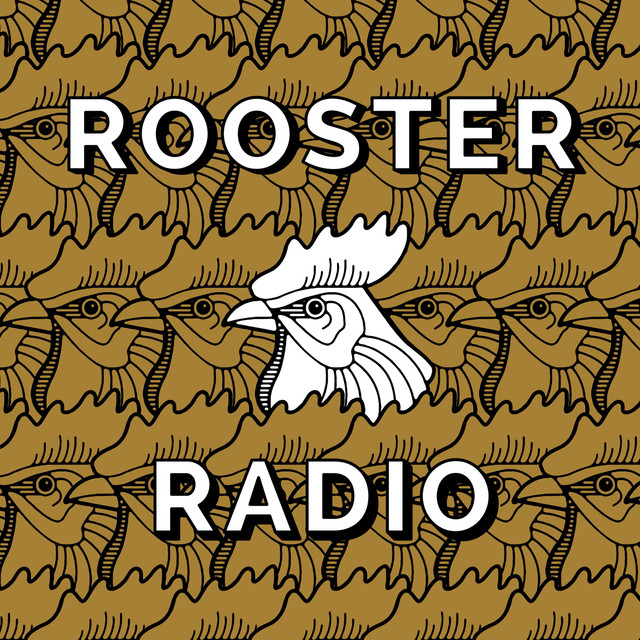 The Rooster Radio Logo with black and white illustration of a rooster's head.